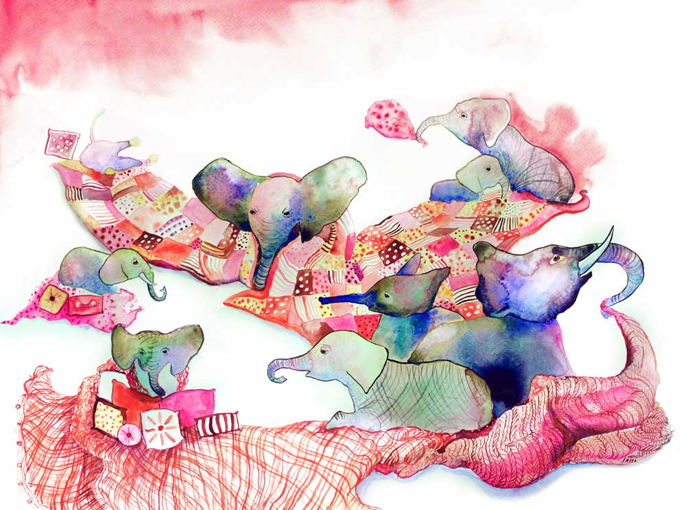 elephants, blankets and pillows childrens illustration