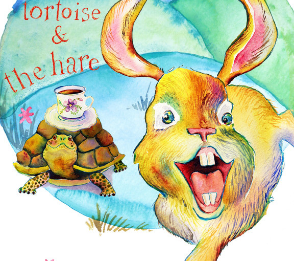 tortoise and hare illustration watercolor